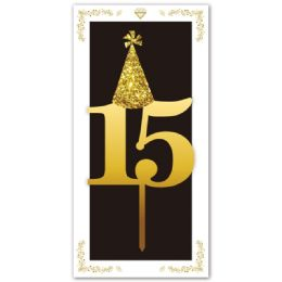 120 Units of Cake Topper Gold Number 15 - Birthday Candles