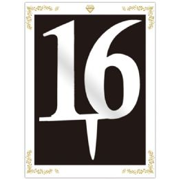 120 Units of Cake Topper Silver Number 16 - Birthday Candles