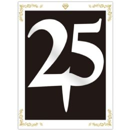 120 Units of Cake Topper Silver Number 25 - Birthday Candles