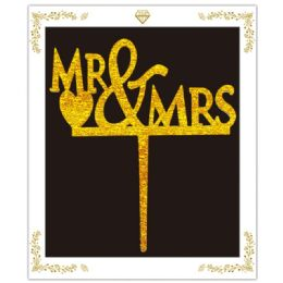120 Units of Cake Topper Gold Mr and Mrs - Birthday Candles