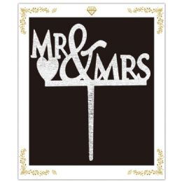 120 Units of Cake Topper Silver Mr and Mrs - Birthday Candles