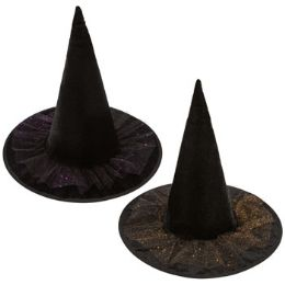 24 Units of Black Velvet Witch Hat - Costumes & Accessories