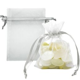 120 Units of Organza Pouches Silver - Party Favors