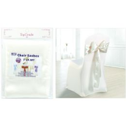 120 Units of Chair Sashes White - Party Center Pieces