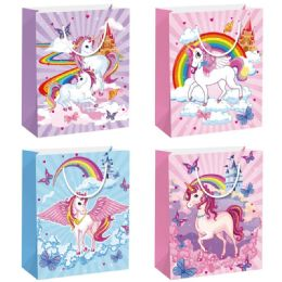 144 Units of Unicorn Gift Bag Large - Gift Bags Hologram