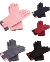 36 Units of Women Suede Like Winter Glove With Bow Design - Winter Gloves