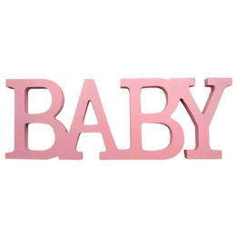 96 Units of Wooden Decoration Baby In Pink - Baby Shower