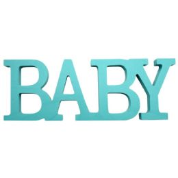 96 Units of Wooden Decoration Baby In Blue - Baby Shower