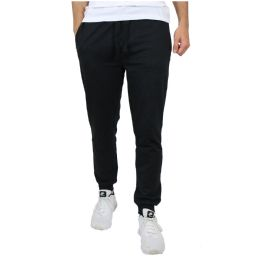 24 Units of Men's Slim-Fit French Terry Joggers Solid Black Assorted Sizes S-XXL - Mens Pants