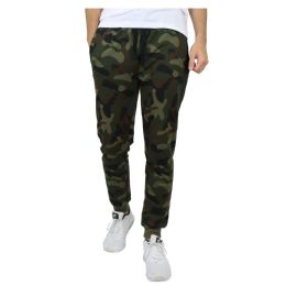 24 Units of Men's Slim-Fit French Terry Joggers Solid Camo Assorted Sizes S-XXL - Mens Pants
