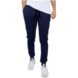24 Units of Men's Slim-Fit French Terry Joggers Solid Navy Assorted Sizes S-XXL - Mens Pants