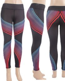 12 Units of Yoga Pants Gradient Color Strip Assorted Sizes - Womens Leggings