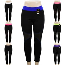 12 Units of Black Yoga Pants with Mesh and Colored Accents Assorted - Womens Leggings