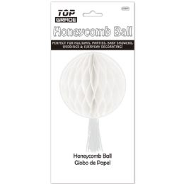 96 Units of Honeycomb Ball In White - Hanging Decorations & Cut Out