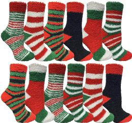 12 Units of Yacht & Smith Women Fuzzy Socks Crew Socks, Warm Butter Soft (9-11) (12 Pack Assorted A) - Womens Fuzzy Socks