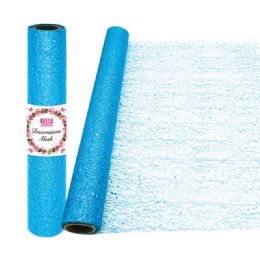 24 Units of Decoration Mesh Roll In Light Blue - Sewing Supplies