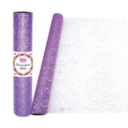 24 Units of Decoration Mesh Roll In Purple - Sewing Supplies