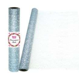 24 Units of Decoration Mesh Roll In Silver - Sewing Supplies