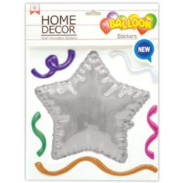 144 Units of Room Decoration Sticker Star Pattern In Silver - Stickers