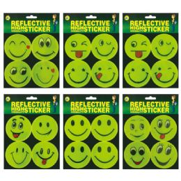 144 Units of Reflect Sticker Smiley Face - Stickers