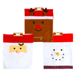 24 Units of Gift Sack Felt 23x18in Three Assorted Styles Drawstring - Christmas Decorations