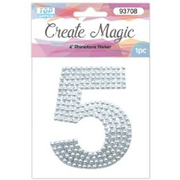 120 Units of Pearl Sticker In Silver Number 5 - Arts & Crafts