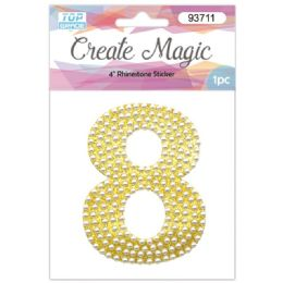 120 Units of Pearl Sticker In Gold Number 8 - Arts & Crafts