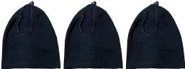 3 Units of Yacht & Smith Warm Fleece Beanie Face Cover And Scarf With Adjustable Strap , Solid Black - Winter Scarves