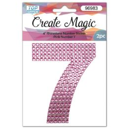 120 Units of 2 Piece Crystal Sticker Number 7 In Pink - Arts & Crafts