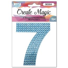120 Units of 2 Piece Crystal Sticker Number 7 In Blue - Arts & Crafts