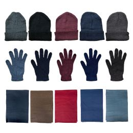 144 Units of Yacht & Smith Unisex 3 Piece Winter Care Set, Assorted Beanie Hat , Assorted Magic Gloves And Assorted Fleece Scarf - Winter Care Sets