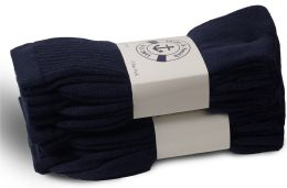 240 Units of Yacht & Smith Women's Cotton Terry Cushioned Crew Socks, Size 9-11, Navy Bulk Packs - Women's Socks for Homeless and Charity