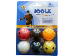 72 Units of JOOLA 6 Pack Sport Themed TableTennis Balls - Store