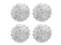 72 Units of 4 piece white and silver tissue paper flowers - Party Paper Goods
