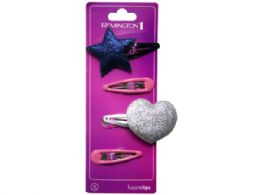 108 Units of 4 Count Hairclips With Star And Heart Designs - Hair Accessories