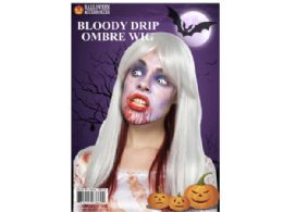 12 Units of bloody drip ombre wig white and red - Costumes & Accessories