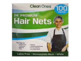 24 Units of Clean Ones 100 Count Premium 24in Disposable Hair Nets - Hair Accessories