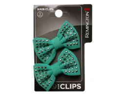 108 Units of 2 Count Studded Bow Salon Hair Clips - Hair Accessories