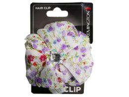 108 Units of Floral Print Salon Clip With Gems - Hair Accessories