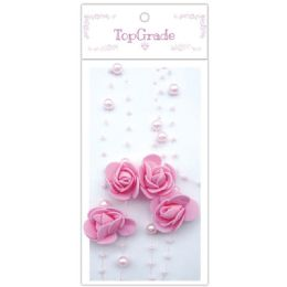 96 Units of Pear Garland In Pink - Craft Beads