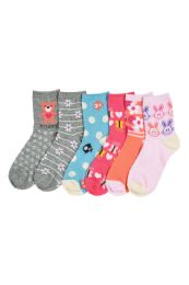 216 Units of Girl's Assorted Design Crew Socks Size 2-3 - Girls Crew Socks