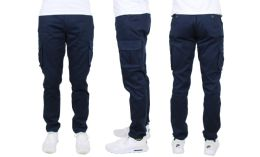 24 Units of Flex Cotton Stretch Cargo Pants Slim-Fitting Cargo Pants Navy - Mens Pants