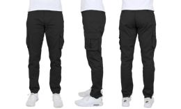 24 Units of Flex Cotton Stretch Cargo Pants Slim-Fitting Cargo Pants Black - Mens Pants