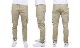 24 Units of Flex Cotton Stretch Cargo Pants Slim-Fitting Cargo Pants Khaki - Mens Pants