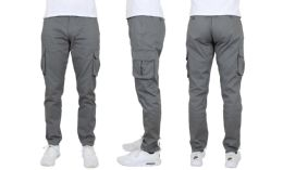24 Units of Flex Cotton Stretch Cargo Pants Slim-Fitting Cargo Pants Gray - Mens Pants