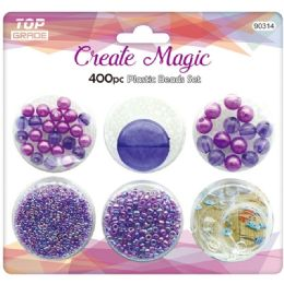 96 Units of 400 Beads Set In Purple - Craft Beads