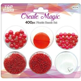 96 Units of 400 Beads Set In Red - Craft Beads