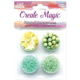96 Units of Beads And Sequin Set In Green - Craft Beads