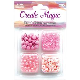 96 Units of Beads And Sequin Set In Pink - Craft Beads