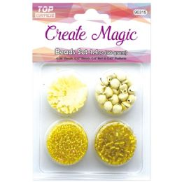 96 Units of Beads And Sequin Set In Yellow - Craft Beads